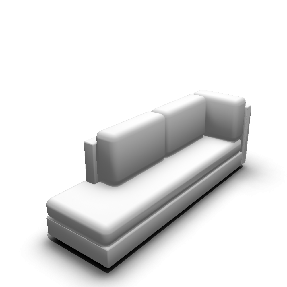 Chaise longue long version left hand design and decorate for Dimension chaise longue
