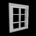 Doppelfenster mit Dekorrahmen