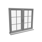 Double window with glazing bar