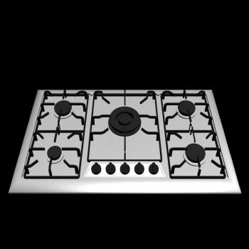 Gaskochfeld mit 5 Kochzonen