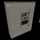 Hochschrank mit Geräten (Edelstahl glänzend) für die 3D Raumplanung