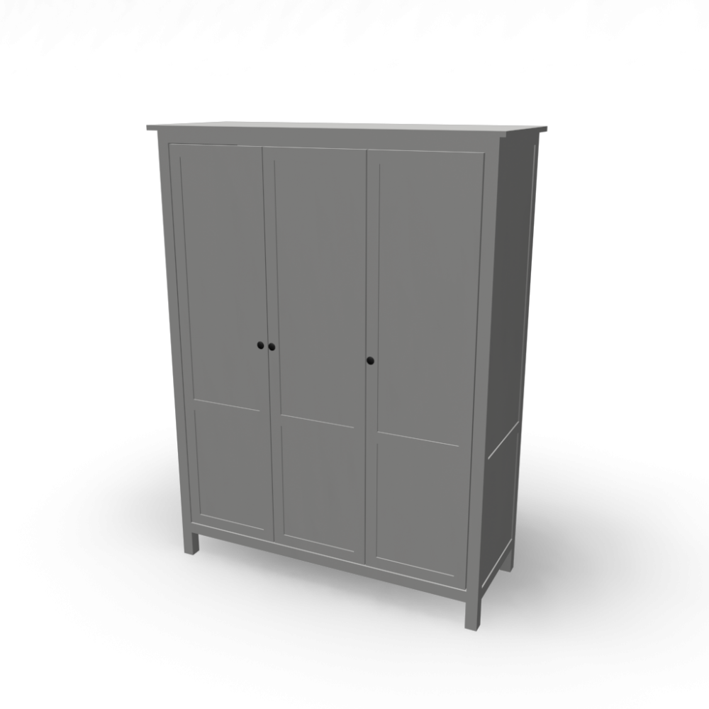hemnes wardrobe with 3 doors design and decorate your room in 3d. Black Bedroom Furniture Sets. Home Design Ideas