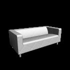 KLIPPAN 2er-Sofa, Genarp weiß für die 3D Raumplanung