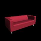 KLIPPAN 2er-Sofa, Granån rot für die 3D Raumplanung