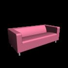 KLIPPAN 2er-Sofa, Granån rosa für die 3D Raumplanung