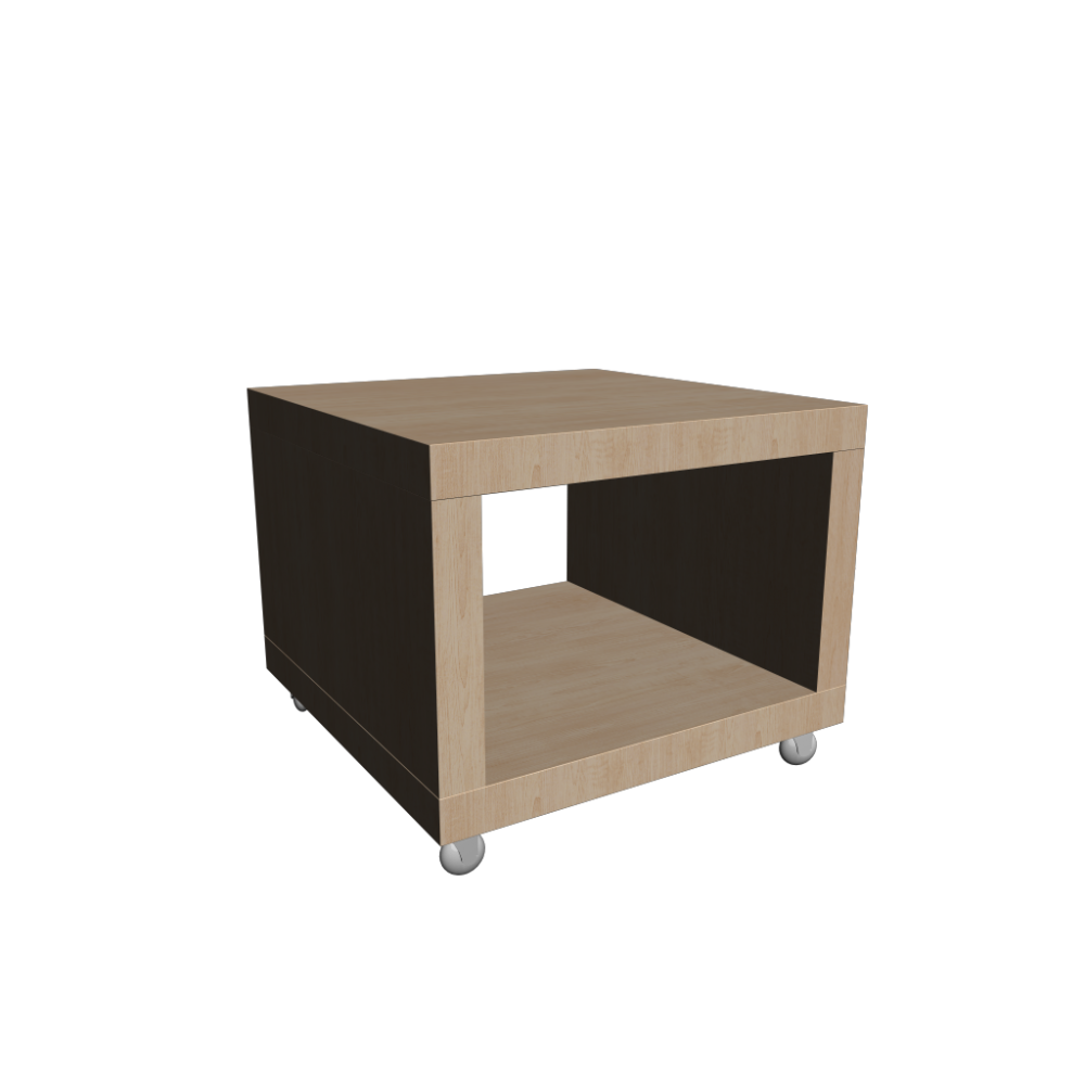 Lack side table on casters birch effect design and for Table en pin ikea