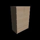 MALM Kommode mit 6 Schubladen Birkenfurnier für die 3D Raumplanung