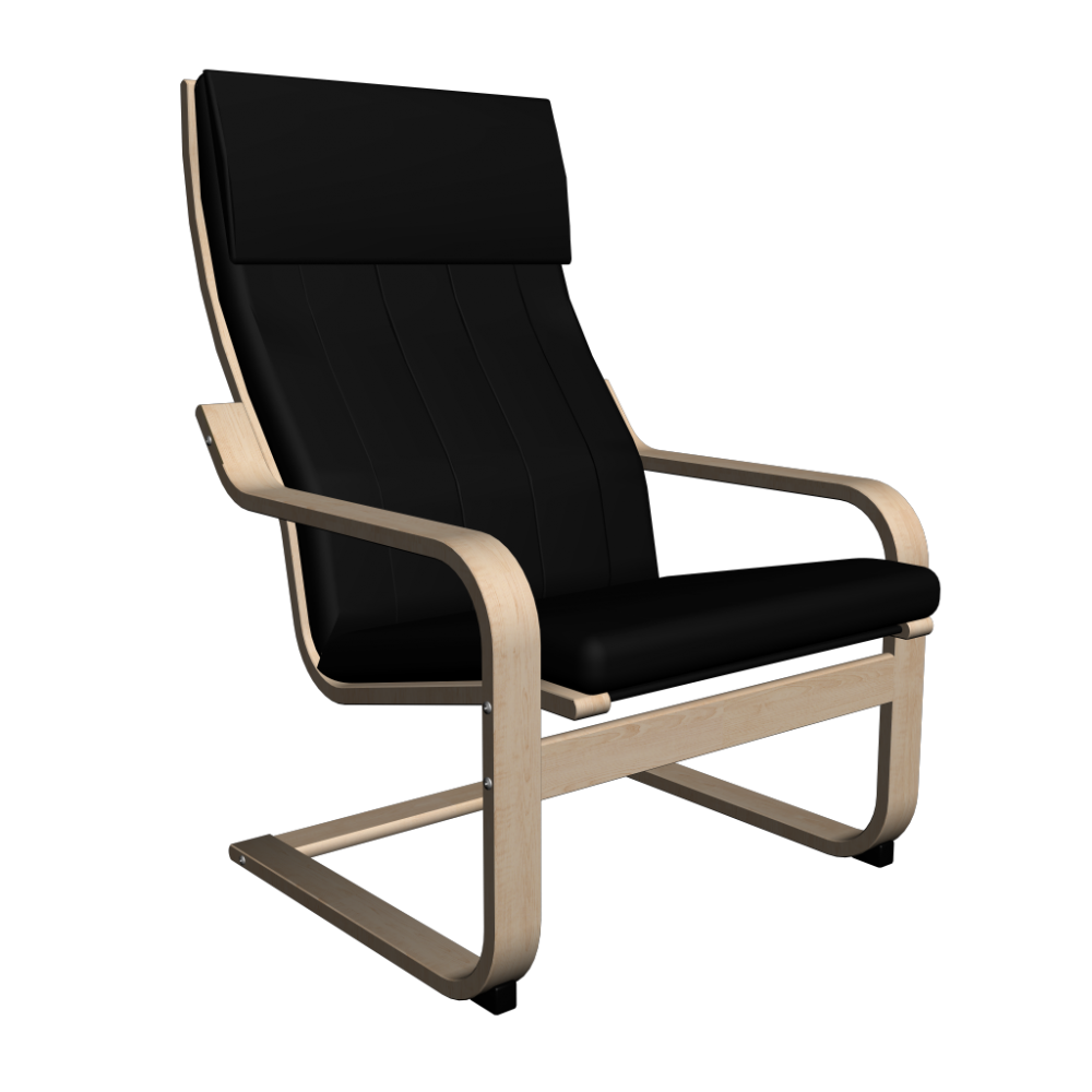 POÄNG Chair birch veneer Alme black Design and Decorate Your Room in 3D