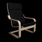 Poäng Sessel in Birkenfurnier und Alme schwarz für die 3D Raumplanung