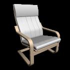 Poäng Sessel in Birkenfurnier und Alme natur für die 3D Raumplanung