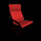 Poäng Sessel in braun und Alme mittelrot für die 3D Raumplanung