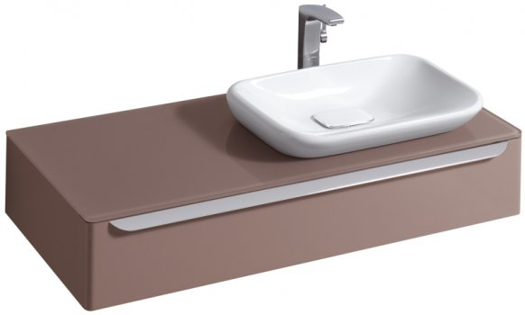 myDay Vanity unit 1150x520x200 mm, body/door: taupe high gloss by Keramag Design