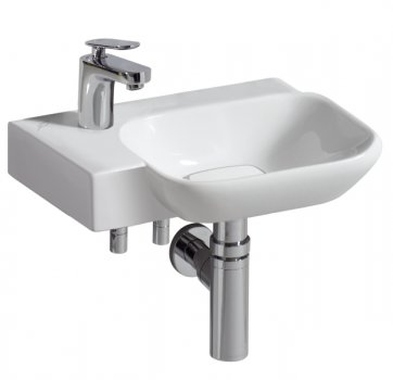 myDay Hand-rinse basin 400x280 mm, without overflow incl. cover cap white/chrome by Keramag Design