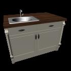 Kücheninsel mit Spüle im Landhausstil für die 3D Raumplanung