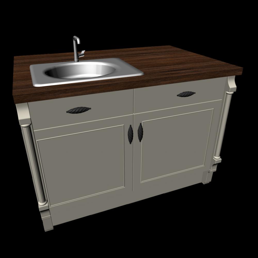 Kücheninsel mit Spüle im Landhausstil - Einrichten & Planen in 3D