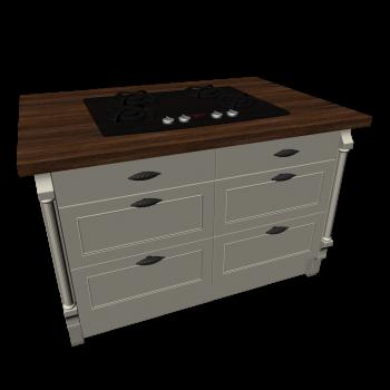 Kücheninsel mit Kochfeld im Landhausstil