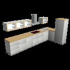 Küchenzeile L-Form für die 3D Raumplanung