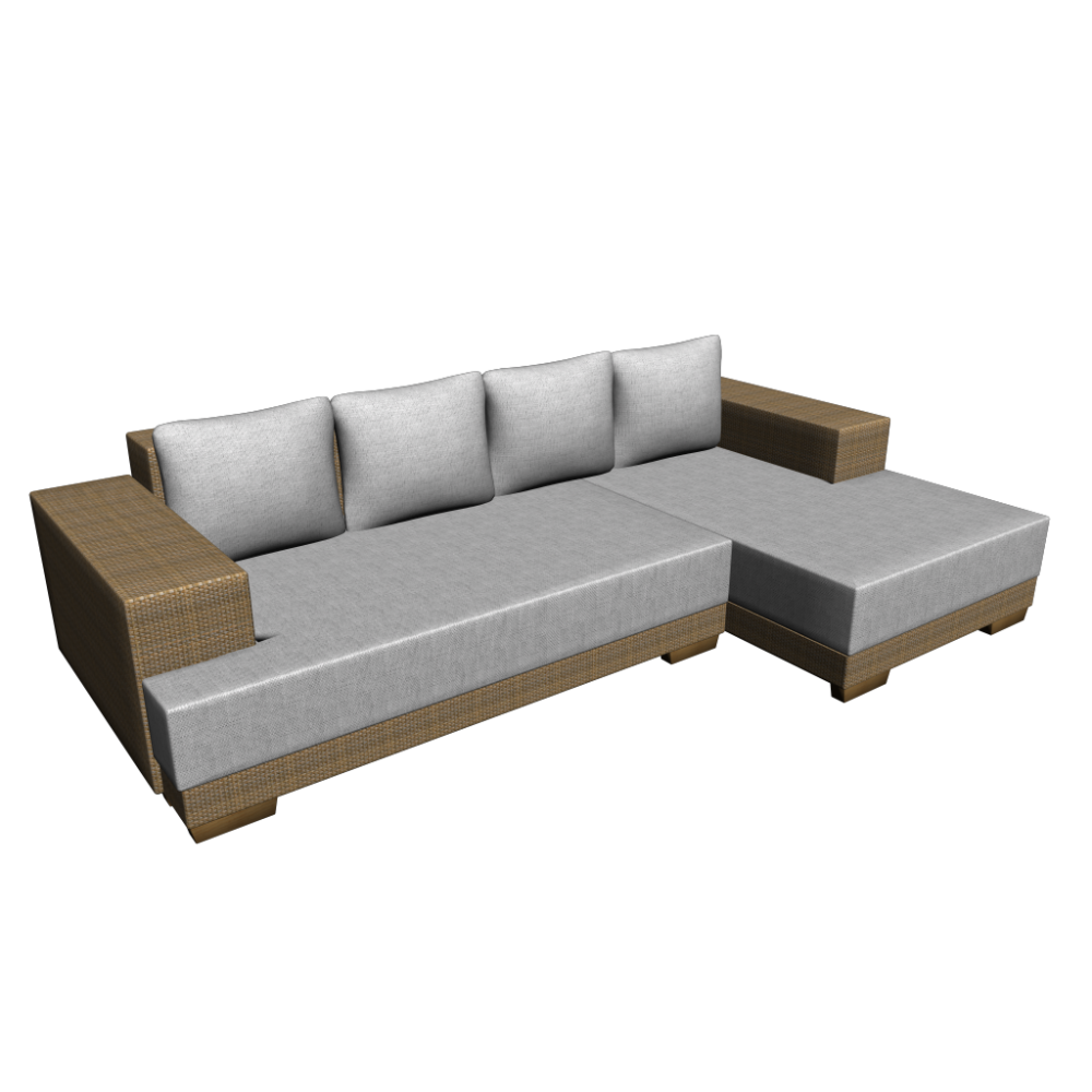 l form couch mit rattan corpus einrichten planen in 3d. Black Bedroom Furniture Sets. Home Design Ideas