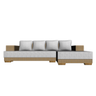 L-Form Couch mit Rattan Corpus