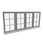 Quad window with glazing bar