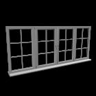 Quad window with glazing bar