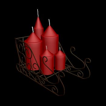 Schlitten mit Kerzen
