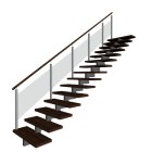 Stairs left handrail for your 3d room design