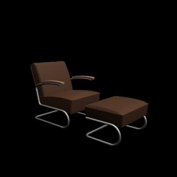 S 411 + S 411 H Sessel + Hocker von Thonet