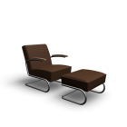 S 411 + S 411 H Armchair + Ottoman by Thonet