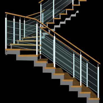 Treppe zweiläufig und halbgewendelt mit Außengeländer