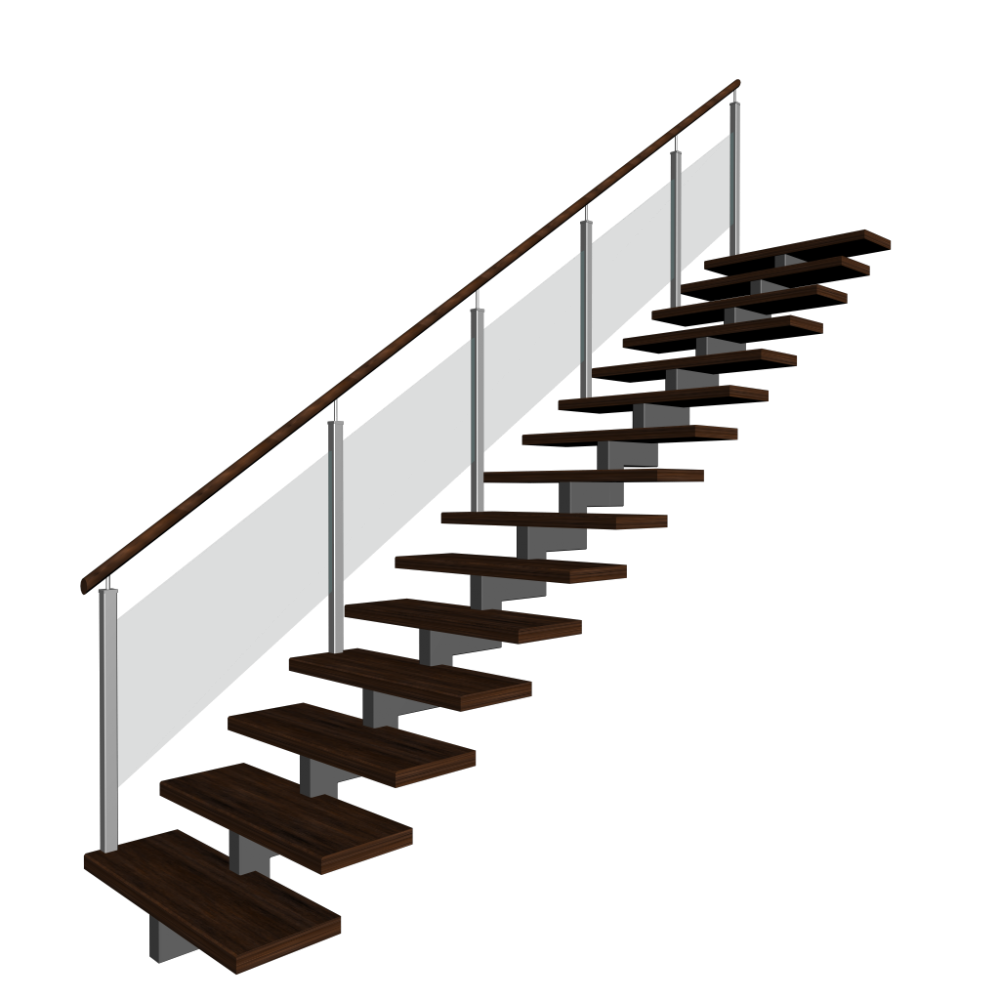 treppe einl ufig links einrichten planen in 3d. Black Bedroom Furniture Sets. Home Design Ideas