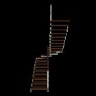 Treppe zweiläufig und halbgewendelt