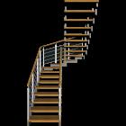 Treppe zweiläufig und halbgewendelt mit Außengeländer für die 3D Raumplanung