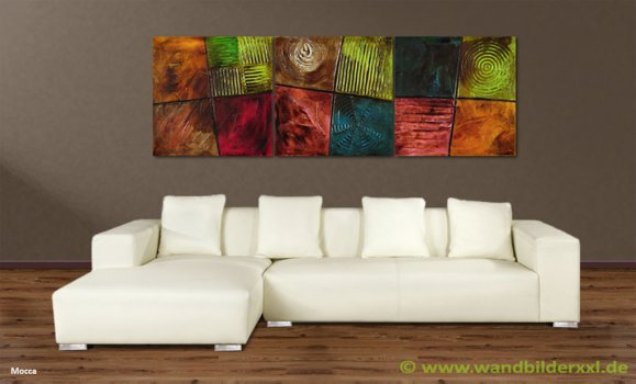 Facets of Life 210x70cm canvas drawing by WandbilderXXL