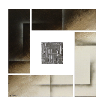 Silver Cube 80 x 80 cm Leinwandbild von WandbilderXXL