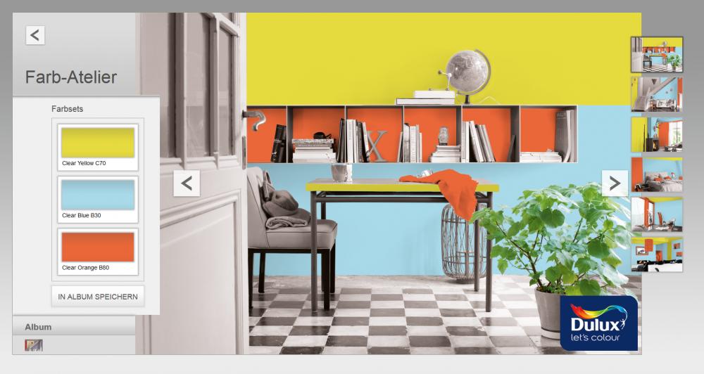 Mit dem Farbberater kannst Du verschiedene Farbkombinationen einfach testen und in Farbsets abspeichern.