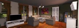 klassische Holzmöbel und Sofas im 3D Raumplaner© Roomeon.com