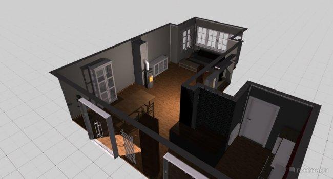 Raumgestaltung wohnzimmer fd mit fenstern und sofa in der Kategorie Ankleidezimmer