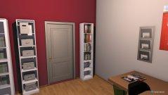 Raumgestaltung Arbeitszimmer rot-weiß in der Kategorie Arbeitszimmer
