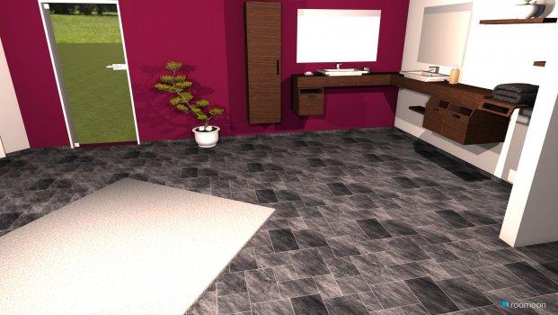 Raumgestaltung schwarz braun lila weiß in der Kategorie Badezimmer