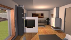 Raumgestaltung Variante 3 Grundriss L-Form Raumteiler Ofen vorne Groß in der Kategorie Esszimmer
