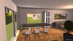 Raumgestaltung Variante 7 Grundriss L-Form Sitting Window Wohnbereich Ofen schmal in der Kategorie Esszimmer