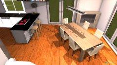 Raumgestaltung Wohn-Ess-Küche in der Kategorie Esszimmer