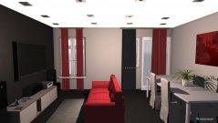 Raumgestaltung salon - comedor cortinas rojas in der Kategorie Hobbyraum