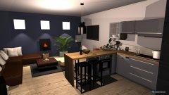Raumgestaltung salon z aneksem kuchennym plus jadalnia in der Kategorie Hobbyraum