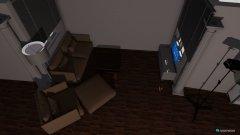 Raumgestaltung grosse geräumige offene küche mit kleinem Wohnzimmer und Essecke in der Kategorie Konferenzraum