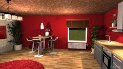 Raumgestaltung rote küche in der Kategorie Küche