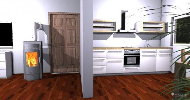 Raumgestaltung Wohnzimmer mit Küche in der Kategorie Küche