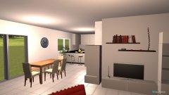 Raumgestaltung EG-Wohnen Kamin & Küche weiß in der Kategorie Wohnzimmer