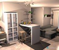 Raumgestaltung Living Room and Kitchen in der Kategorie Wohnzimmer